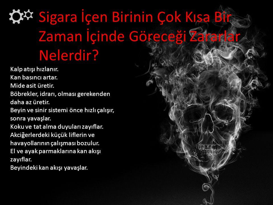 Sigara İçen Birinin Çok Kısa Bir Zaman İçinde Göreceği Zararlar Nelerdir? Kalp atışı hızlanır. Kan basıncı artar. Mide asit üretir. Böbrekler, idrarı,