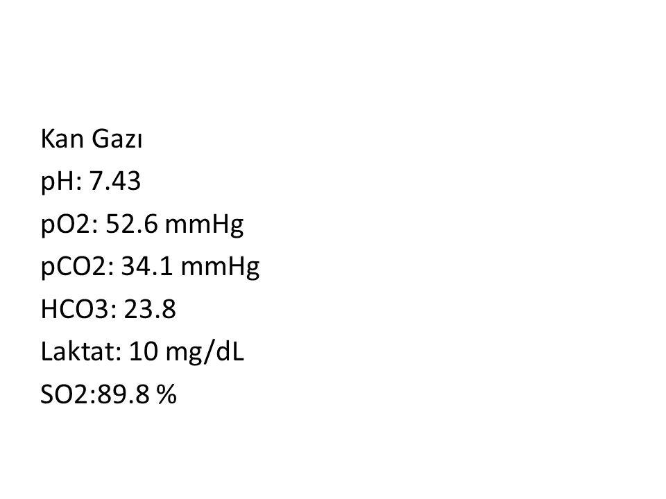 Kan Gazı pH: 7.43 pO2: 52.6 mmHg pCO2: 34.1 mmHg HCO3: 23.8 Laktat: 10 mg/dL SO2:89.8 %
