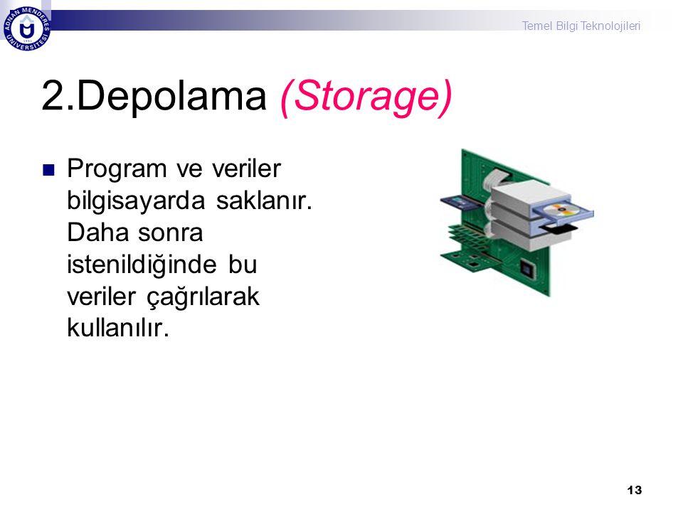 Temel Bilgi Teknolojileri 13 2.Depolama (Storage) Program ve veriler bilgisayarda saklanır. Daha sonra istenildiğinde bu veriler çağrılarak kullanılır