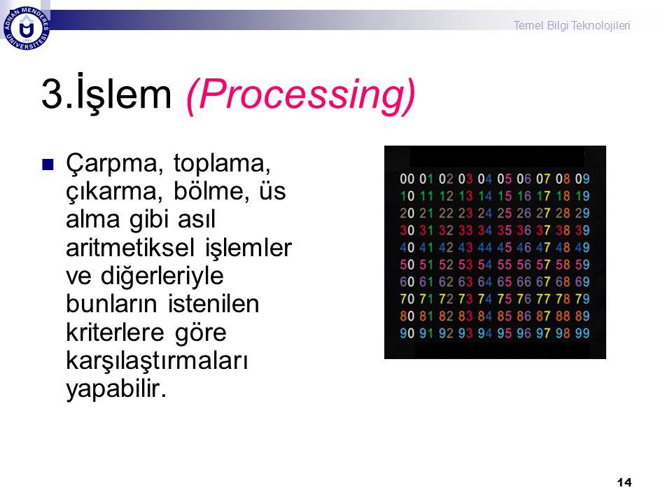 Temel Bilgi Teknolojileri 14 3.İşlem (Processing) Çarpma, toplama, çıkarma, bölme, üs alma gibi asıl aritmetiksel işlemler ve diğerleriyle bunların is