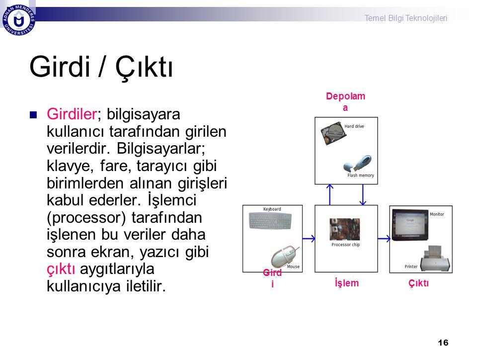 Temel Bilgi Teknolojileri 16 Girdi / Çıktı Girdiler; bilgisayara kullanıcı tarafından girilen verilerdir. Bilgisayarlar; klavye, fare, tarayıcı gibi b