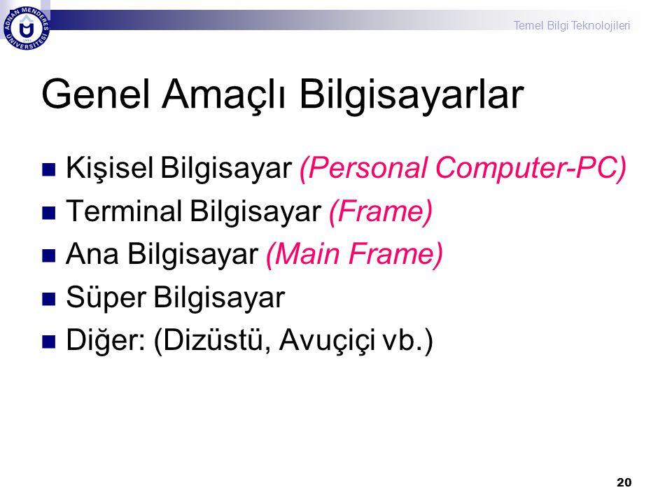 Temel Bilgi Teknolojileri 20 Genel Amaçlı Bilgisayarlar Kişisel Bilgisayar (Personal Computer-PC) Terminal Bilgisayar (Frame) Ana Bilgisayar (Main Frame) Süper Bilgisayar Diğer: (Dizüstü, Avuçiçi vb.)