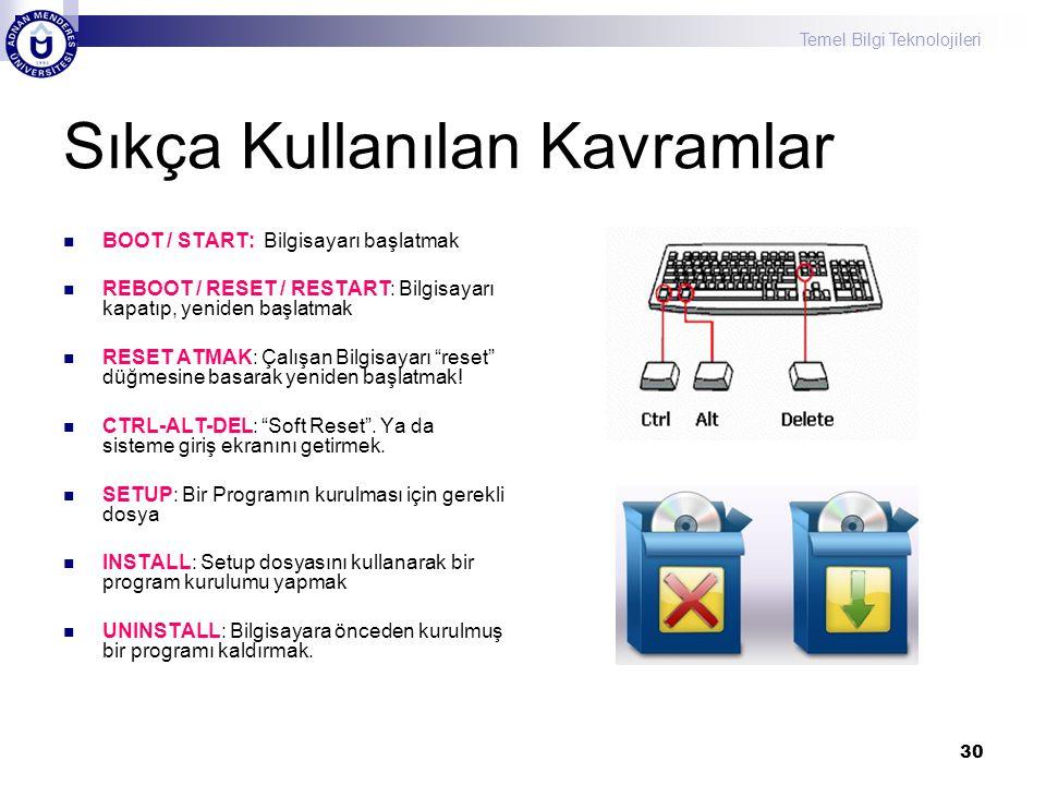 Temel Bilgi Teknolojileri 30 Sıkça Kullanılan Kavramlar BOOT / START: Bilgisayarı başlatmak REBOOT / RESET / RESTART: Bilgisayarı kapatıp, yeniden başlatmak RESET ATMAK: Çalışan Bilgisayarı reset düğmesine basarak yeniden başlatmak.