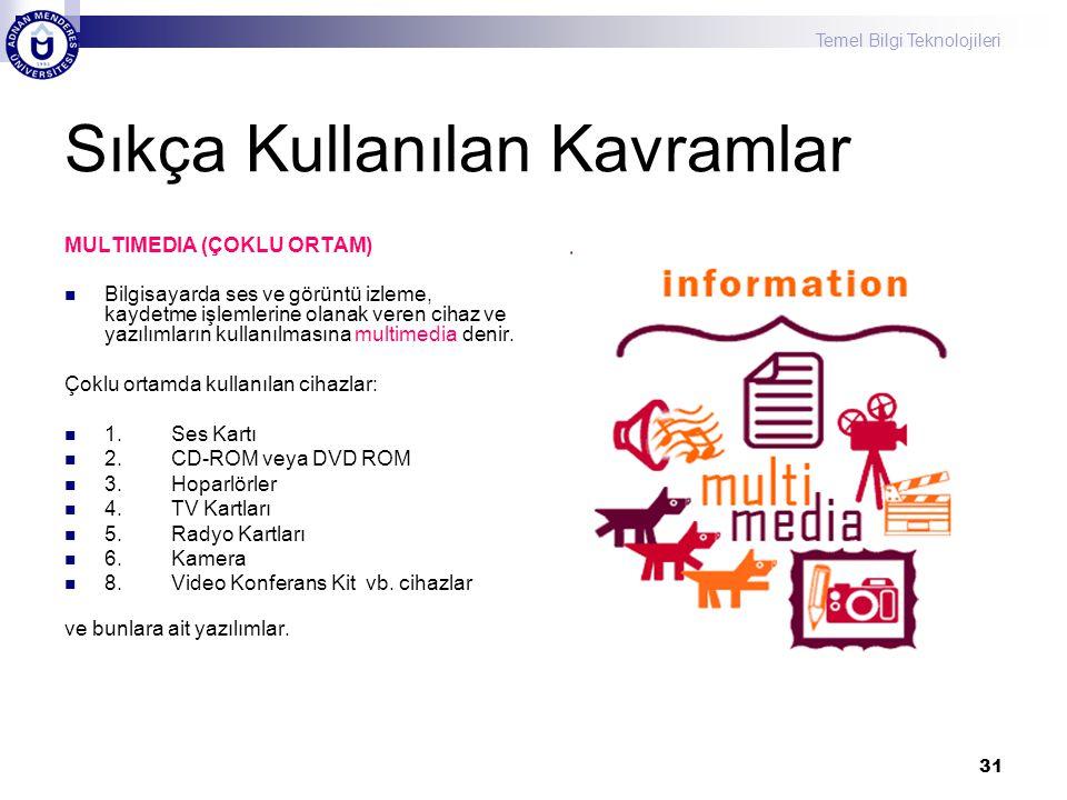 Temel Bilgi Teknolojileri 31 Sıkça Kullanılan Kavramlar MULTIMEDIA (ÇOKLU ORTAM) Bilgisayarda ses ve görüntü izleme, kaydetme işlemlerine olanak veren cihaz ve yazılımların kullanılmasına multimedia denir.