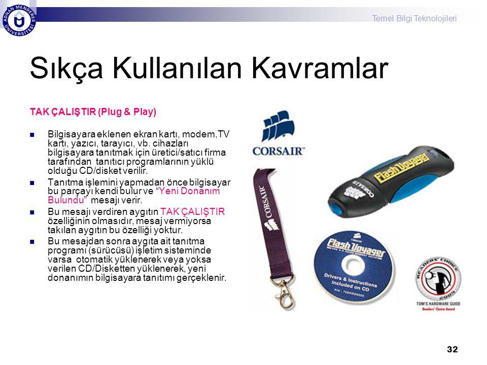 Temel Bilgi Teknolojileri 32 Sıkça Kullanılan Kavramlar TAK ÇALIŞTIR (Plug & Play) Bilgisayara eklenen ekran kartı, modem,TV kartı, yazıcı, tarayıcı, vb.
