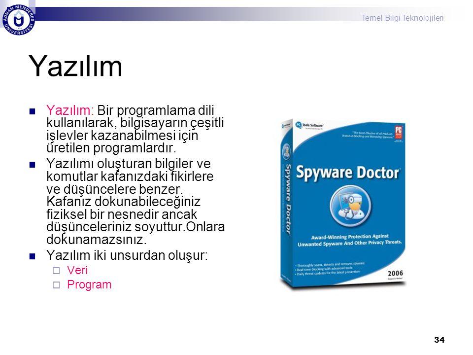 Temel Bilgi Teknolojileri 34 Yazılım Yazılım: Bir programlama dili kullanılarak, bilgisayarın çeşitli işlevler kazanabilmesi için üretilen programlardır.