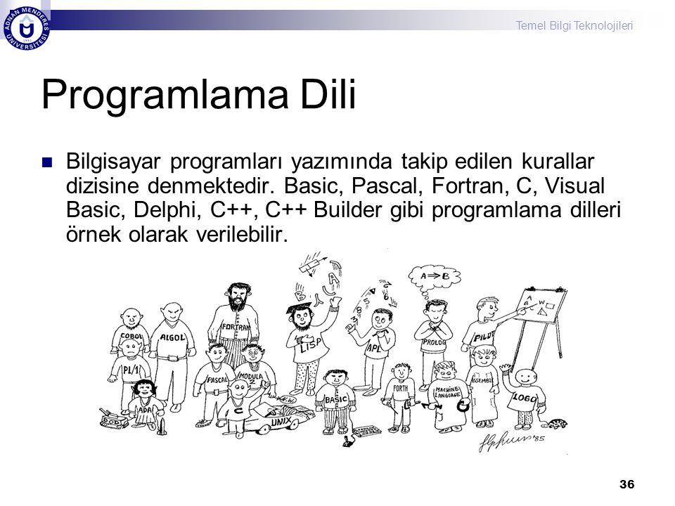 Temel Bilgi Teknolojileri 36 Programlama Dili Bilgisayar programları yazımında takip edilen kurallar dizisine denmektedir. Basic, Pascal, Fortran, C,