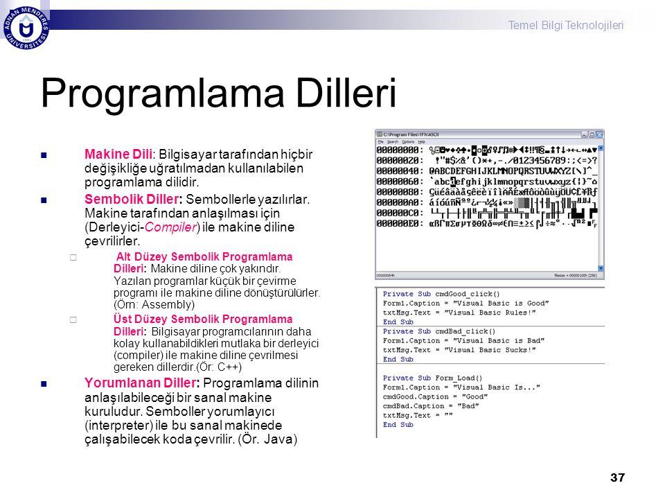 Temel Bilgi Teknolojileri 37 Programlama Dilleri Makine Dili: Bilgisayar tarafından hiçbir değişikliğe uğratılmadan kullanılabilen programlama dilidir