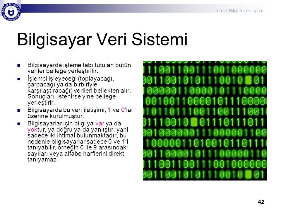 Temel Bilgi Teknolojileri 42 Bilgisayar Veri Sistemi Bilgisayarda işleme tabi tutulan bütün veriler belleğe yerleştirilir. İşlemci işleyeceği (toplaya