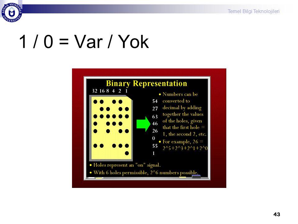 Temel Bilgi Teknolojileri 43 1 / 0 = Var / Yok