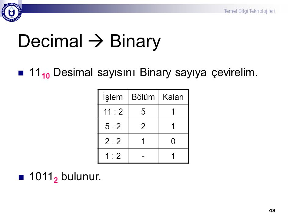 Temel Bilgi Teknolojileri 48 Decimal  Binary 11 10 Desimal sayısını Binary sayıya çevirelim. İşlemBölümKalan 11 : 251 5 : 221 2 : 210 1 : 2-1 1011 2