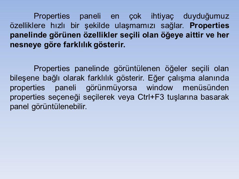 Properties paneli en çok ihtiyaç duyduğumuz özelliklere hızlı bir şekilde ulaşmamızı sağlar. Properties panelinde görünen özellikler seçili olan öğeye
