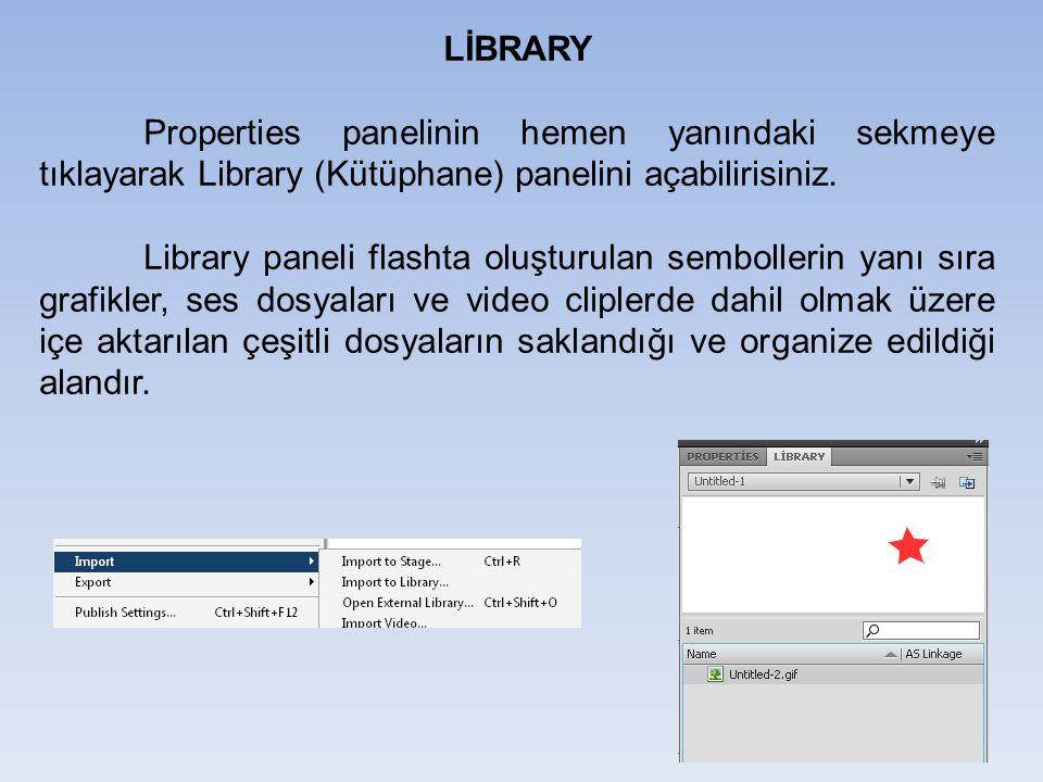 LİBRARY Properties panelinin hemen yanındaki sekmeye tıklayarak Library (Kütüphane) panelini açabilirisiniz. Library paneli flashta oluşturulan sembol
