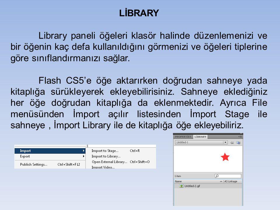 LİBRARY Library paneli öğeleri klasör halinde düzenlemenizi ve bir öğenin kaç defa kullanıldığını görmenizi ve öğeleri tiplerine göre sınıflandırmanız