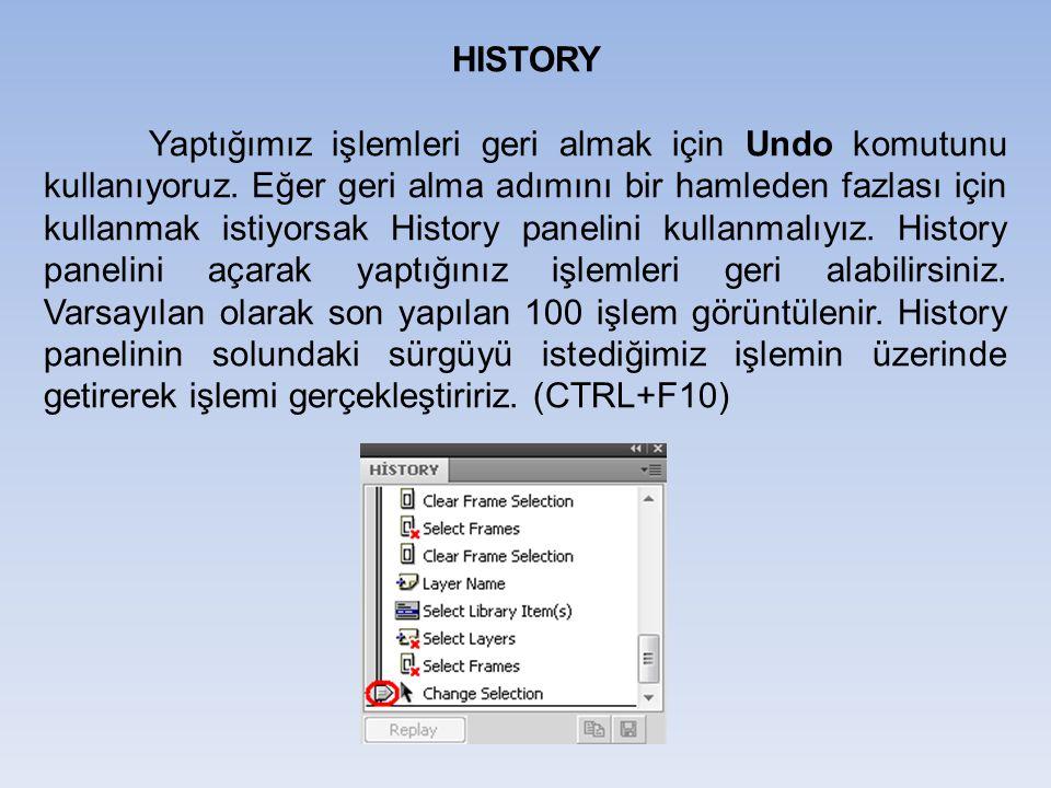 HISTORY Yaptığımız işlemleri geri almak için Undo komutunu kullanıyoruz. Eğer geri alma adımını bir hamleden fazlası için kullanmak istiyorsak History