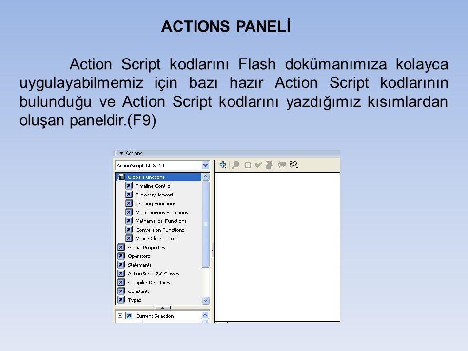 ACTIONS PANELİ Action Script kodlarını Flash dokümanımıza kolayca uygulayabilmemiz için bazı hazır Action Script kodlarının bulunduğu ve Action Script