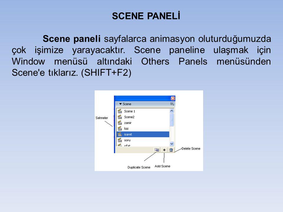 SCENE PANELİ Scene paneli sayfalarca animasyon oluturduğumuzda çok işimize yarayacaktır. Scene paneline ulaşmak için Window menüsü altındaki Others Pa