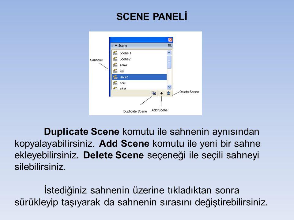 SCENE PANELİ Duplicate Scene komutu ile sahnenin aynısından kopyalayabilirsiniz. Add Scene komutu ile yeni bir sahne ekleyebilirsiniz. Delete Scene se