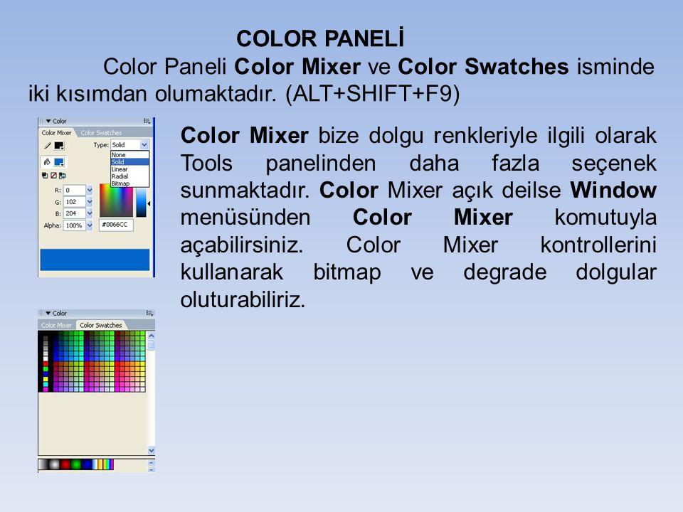 COLOR PANELİ Color Paneli Color Mixer ve Color Swatches isminde iki kısımdan olumaktadır. (ALT+SHIFT+F9) Color Mixer bize dolgu renkleriyle ilgili ola