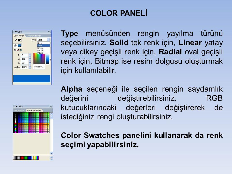 COLOR PANELİ Type menüsünden rengin yayılma türünü seçebilirsiniz. Solid tek renk için, Linear yatay veya dikey geçişli renk için, Radial oval geçişli