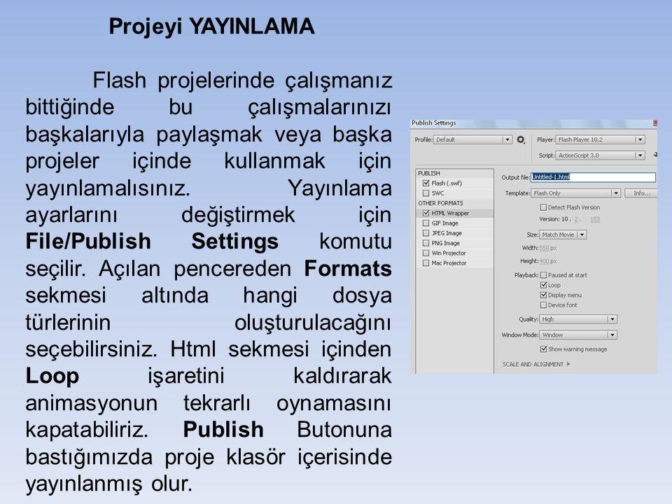 Projeyi YAYINLAMA Flash projelerinde çalışmanız bittiğinde bu çalışmalarınızı başkalarıyla paylaşmak veya başka projeler içinde kullanmak için yayınla