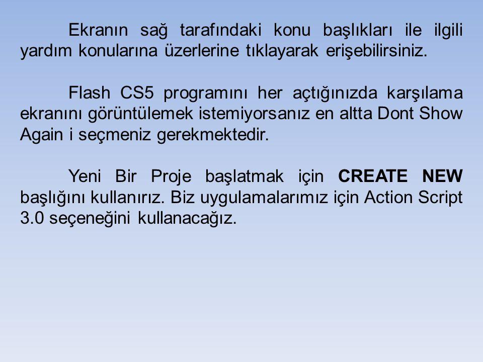 Ekranın sağ tarafındaki konu başlıkları ile ilgili yardım konularına üzerlerine tıklayarak erişebilirsiniz. Flash CS5 programını her açtığınızda karşı