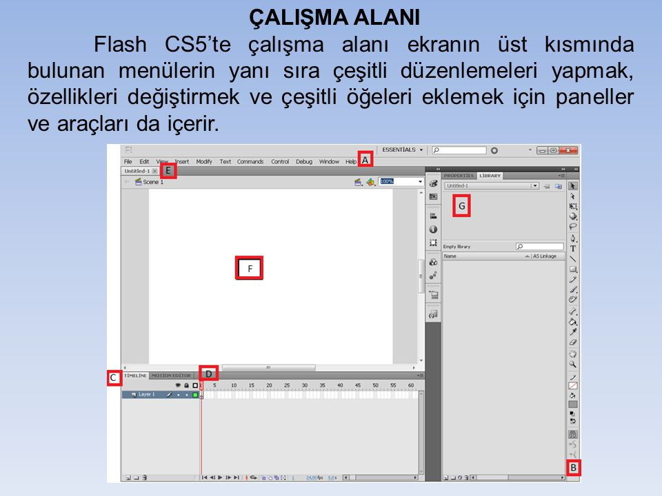 ÇALIŞMA ALANI A: Menü çubuğu: bir Flash dosyası üzerinde çalışırken uygulayabileceğiniz çeşitli görevlerin ve değiştirebileceğiniz çeşitli seçeneklerin bulunduğu alandır.