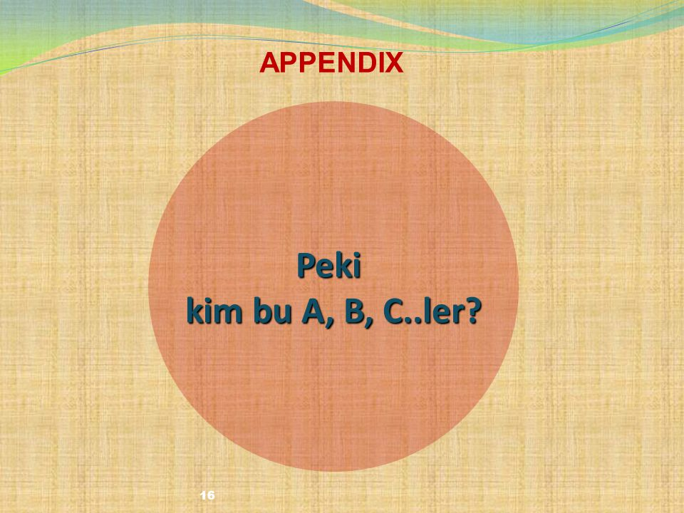 16 Peki kim bu A, B, C..ler? APPENDIX
