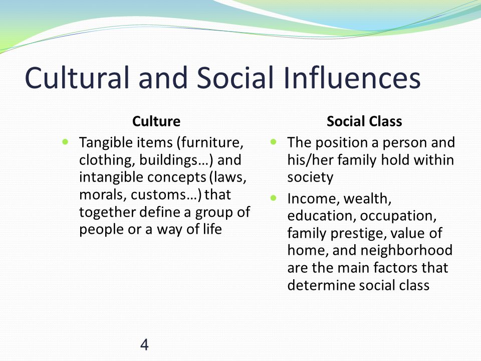 4 Cultural and Social Influences Culture Tangible items (furniture, clothing, buildings…) and intangible concepts (laws, morals, customs…) that togeth
