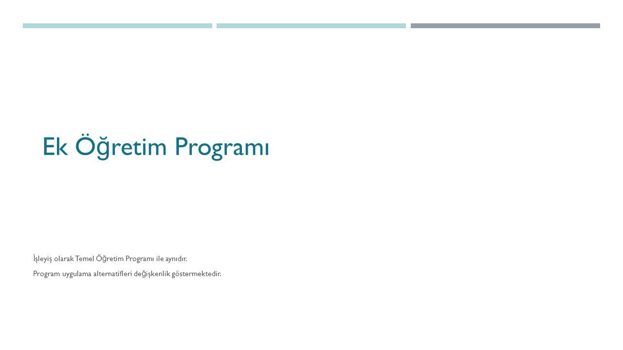 Ek Ö ğ retim Programı İ şleyiş olarak Temel Ö ğ retim Programı ile aynıdır.