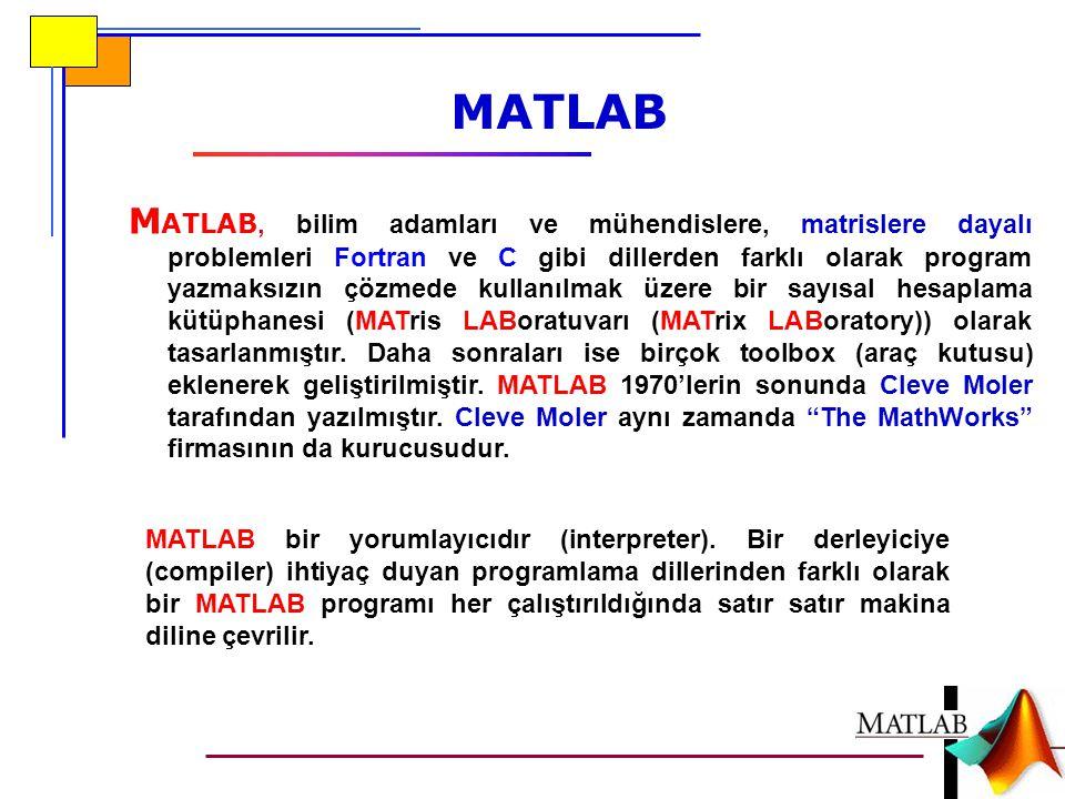 M ATLAB, bilim adamları ve mühendislere, matrislere dayalı problemleri Fortran ve C gibi dillerden farklı olarak program yazmaksızın çözmede kullanılmak üzere bir sayısal hesaplama kütüphanesi (MATris LABoratuvarı (MATrix LABoratory)) olarak tasarlanmıştır.