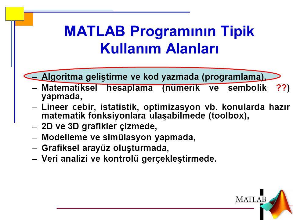 MATLAB Programının Tipik Kullanım Alanları –Algoritma geliştirme ve kod yazmada (programlama), –Matematiksel hesaplama (nümerik ve sembolik ??) yapmada, –Lineer cebir, istatistik, optimizasyon vb.