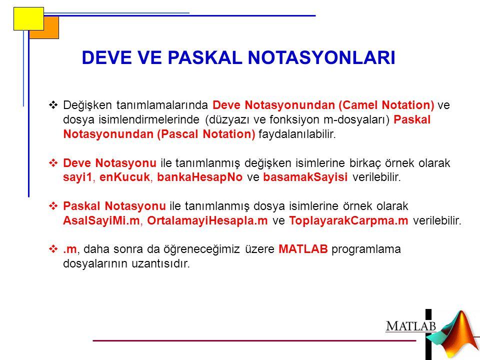 DEVE VE PASKAL NOTASYONLARI  Değişken tanımlamalarında Deve Notasyonundan (Camel Notation) ve dosya isimlendirmelerinde (düzyazı ve fonksiyon m-dosyaları) Paskal Notasyonundan (Pascal Notation) faydalanılabilir.