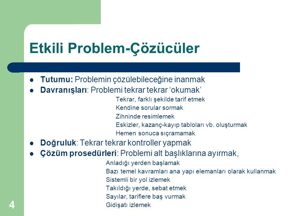 4 Etkili Problem-Çözücüler Tutumu: Problemin çözülebileceğine inanmak Davranışları: Problemi tekrar tekrar 'okumak' Tekrar, farklı şekilde tarif etmek Kendine sorular sormak Zihninde resimlemek Eskizler, kazanç-kayıp tabloları vb.