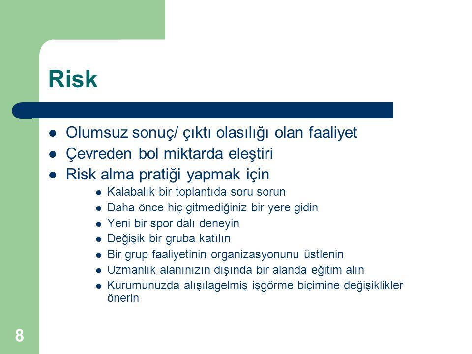 8 Risk Olumsuz sonuç/ çıktı olasılığı olan faaliyet Çevreden bol miktarda eleştiri Risk alma pratiği yapmak için Kalabalık bir toplantıda soru sorun D