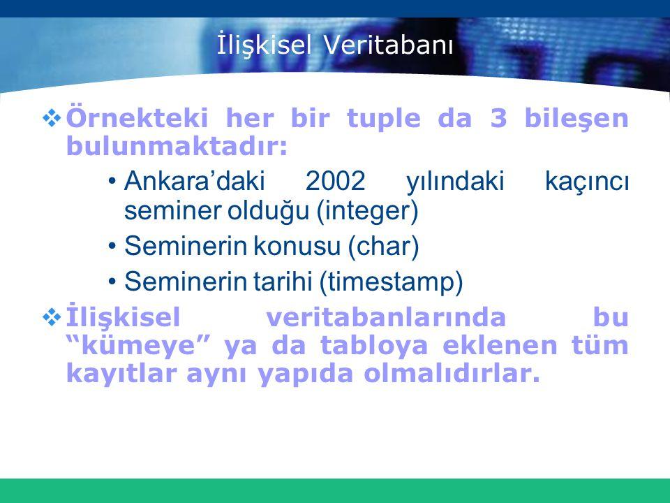 İlişkisel Veritabanı  Örnekteki her bir tuple da 3 bileşen bulunmaktadır: Ankara'daki 2002 yılındaki kaçıncı seminer olduğu (integer) Seminerin konus
