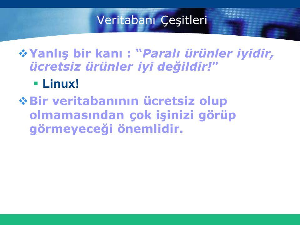 """Veritabanı Çeşitleri  Yanlış bir kanı : """"Paralı ürünler iyidir, ücretsiz ürünler iyi değildir!""""  Linux!  Bir veritabanının ücretsiz olup olmamasınd"""