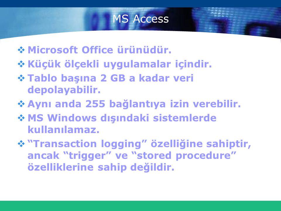 MS Access  Microsoft Office ürünüdür.  Küçük ölçekli uygulamalar içindir.  Tablo başına 2 GB a kadar veri depolayabilir.  Aynı anda 255 bağlantıya