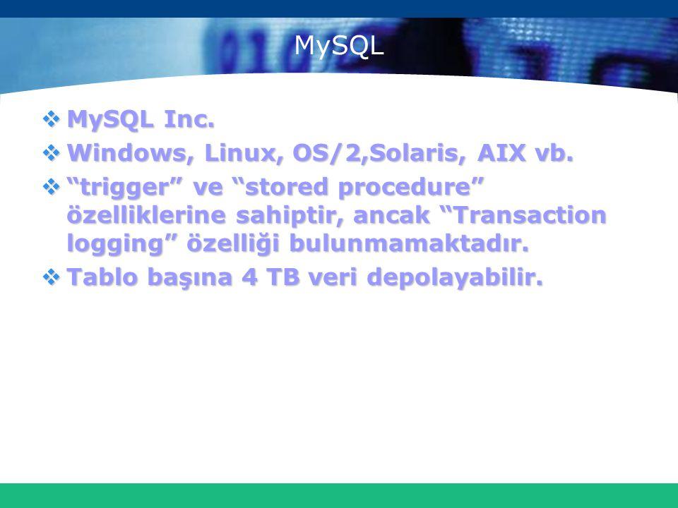 "MySQL  MySQL Inc.  Windows, Linux, OS/2,Solaris, AIX vb.  ""trigger"" ve ""stored procedure"" özelliklerine sahiptir, ancak ""Transaction logging"" özell"