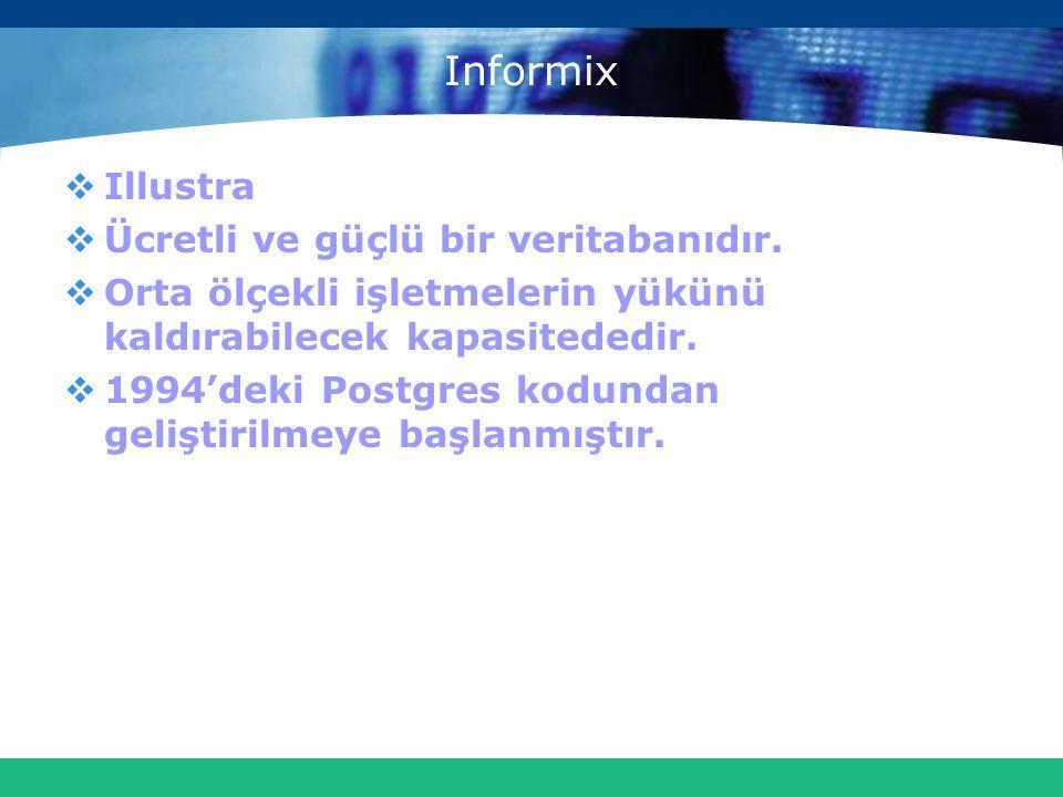Informix  Illustra  Ücretli ve güçlü bir veritabanıdır.  Orta ölçekli işletmelerin yükünü kaldırabilecek kapasitededir.  1994'deki Postgres kodund