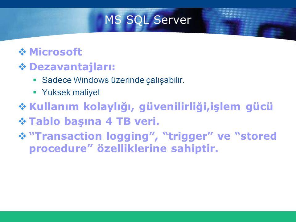 MS SQL Server  Microsoft  Dezavantajları:  Sadece Windows üzerinde çalışabilir.  Yüksek maliyet  Kullanım kolaylığı, güvenilirliği,işlem gücü  T