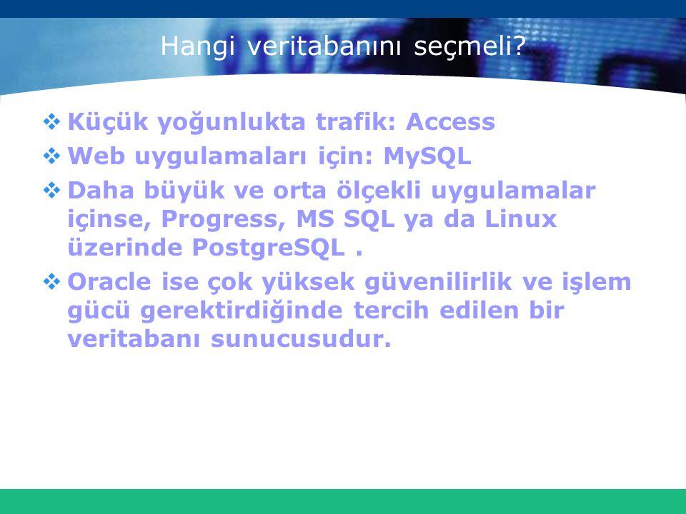 Hangi veritabanını seçmeli?  Küçük yoğunlukta trafik: Access  Web uygulamaları için: MySQL  Daha büyük ve orta ölçekli uygulamalar içinse, Progress