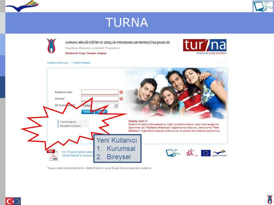 TURNA Yeni Kullanıcı 1.Kurumsal 2.Bireysel