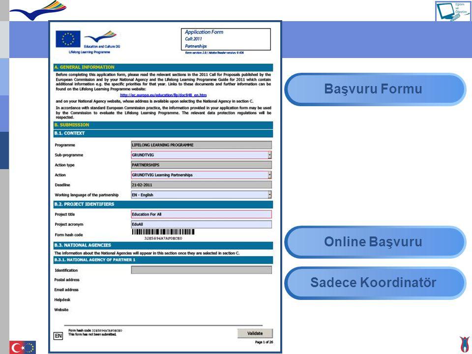 Başvuru Başvuru Formu Online Başvuru Sadece Koordinatör