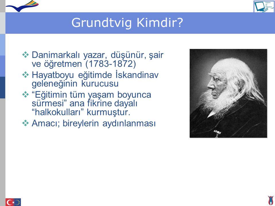 """Grundtvig Kimdir?  Danimarkalı yazar, düşünür, şair ve öğretmen (1783-1872)  Hayatboyu eğitimde İskandinav geleneğinin kurucusu  """"Eğitimin tüm yaşa"""