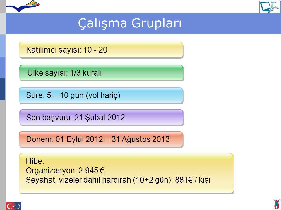Çalışma Grupları Ülke sayısı: 1/3 kuralı Süre: 5 – 10 gün (yol hariç) Son başvuru: 21 Şubat 2012 Dönem: 01 Eylül 2012 – 31 Ağustos 2013 Katılımcı sayı