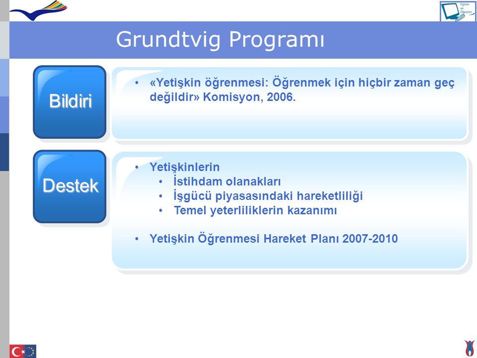 Grundtvig Programı Bildiri «Yetişkin öğrenmesi: Öğrenmek için hiçbir zaman geç değildir» Komisyon, 2006. Destek Yetişkinlerin İstihdam olanakları İşgü