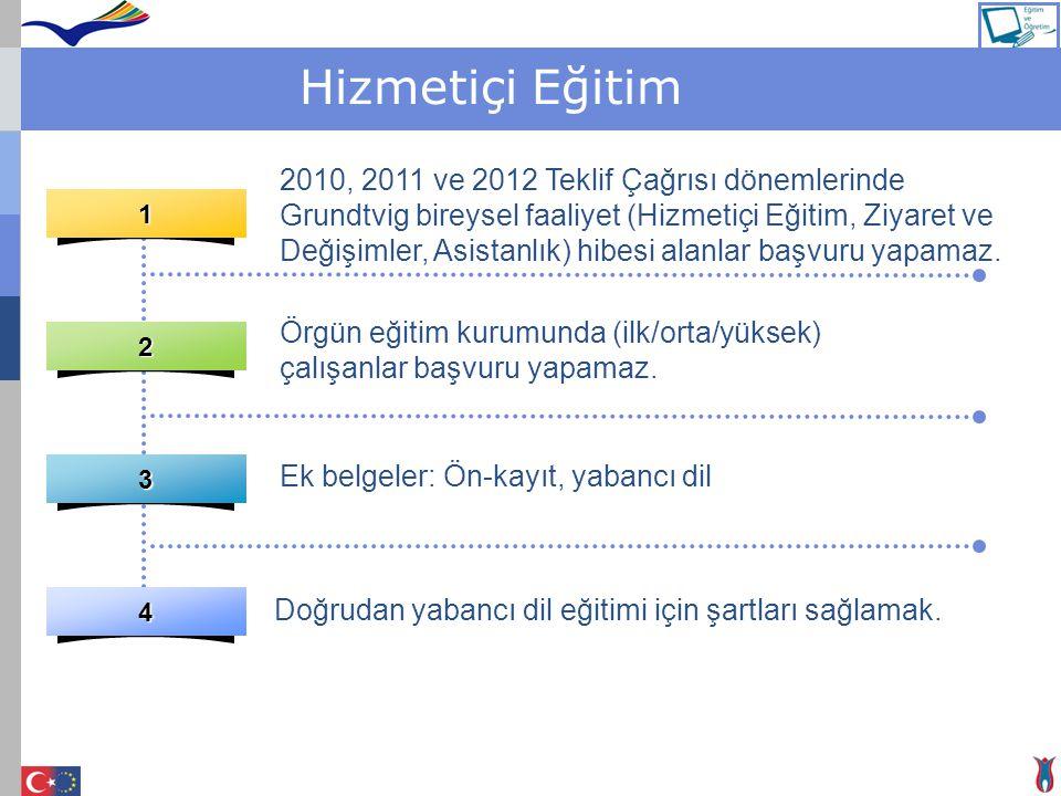 Hizmetiçi Eğitim1 2 3 4 2010, 2011 ve 2012 Teklif Çağrısı dönemlerinde Grundtvig bireysel faaliyet (Hizmetiçi Eğitim, Ziyaret ve Değişimler, Asistanlı