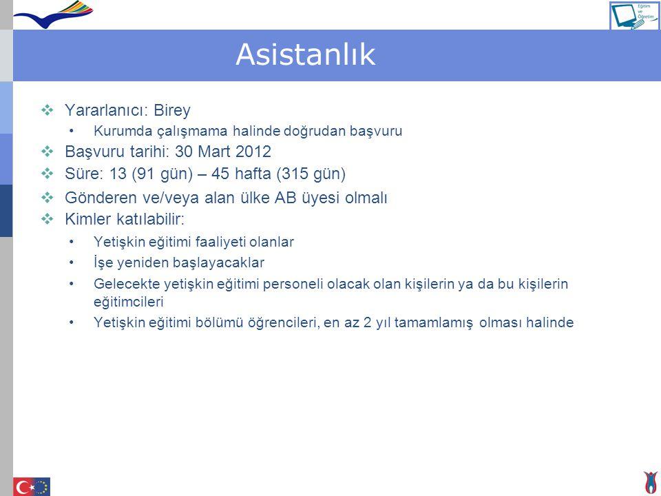Asistanlık  Yararlanıcı: Birey Kurumda çalışmama halinde doğrudan başvuru  Başvuru tarihi: 30 Mart 2012  Süre: 13 (91 gün) – 45 hafta (315 gün)  G