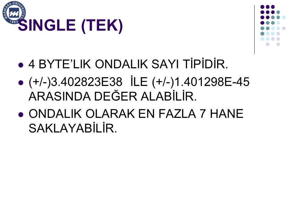 SINGLE (TEK) 4 BYTE'LIK ONDALIK SAYI TİPİDİR.